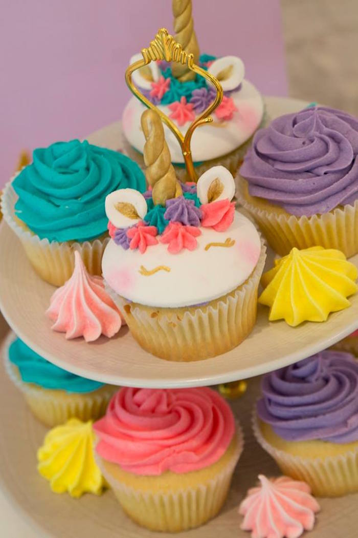 Cupcakes from a Pastel Rainbow Unicorn Birthday Party on Kara's Party Ideas | KarasPartyIdeas.com (23)