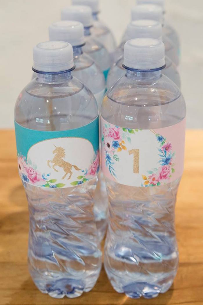 Unicorn-inspired Water Bottle Labels from a Pastel Rainbow Unicorn Birthday Party on Kara's Party Ideas | KarasPartyIdeas.com (22)