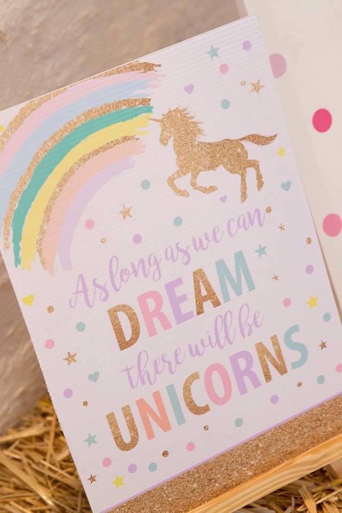 Unicorn Dreams Signage from a Pastel Rainbow Unicorn Birthday Party on Kara's Party Ideas | KarasPartyIdeas.com (19)