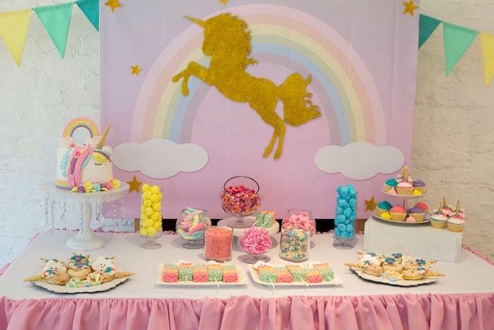 Unicorn Party Table from a Pastel Rainbow Unicorn Birthday Party on Kara's Party Ideas | KarasPartyIdeas.com (18)
