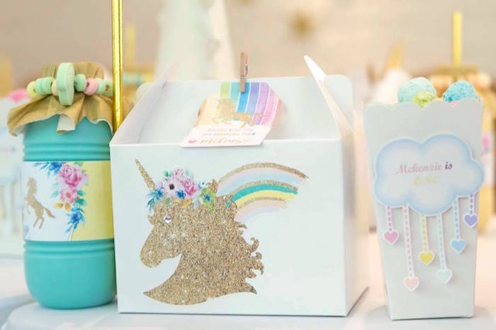 Unicorn Lunch Box Table Setting from a Pastel Rainbow Unicorn Birthday Party on Kara's Party Ideas | KarasPartyIdeas.com (17)