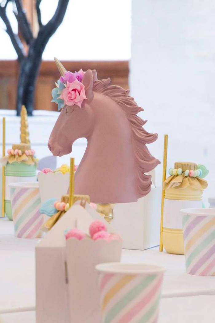 Unicorn Head Decoration from a Pastel Rainbow Unicorn Birthday Party on Kara's Party Ideas | KarasPartyIdeas.com (35)
