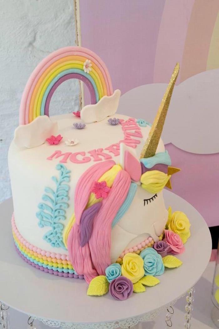 Rainbow Unicorn Cake from a Pastel Rainbow Unicorn Birthday Party on Kara's Party Ideas | KarasPartyIdeas.com (16)