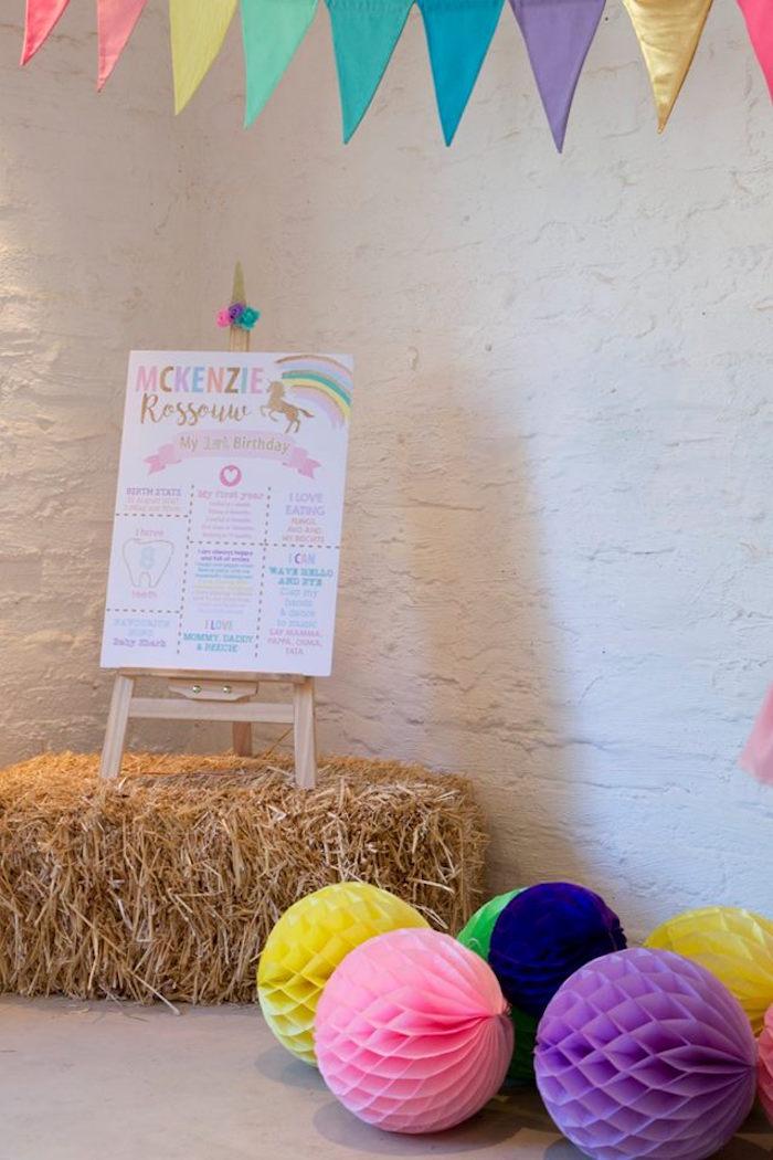 Highlight Board + Decor from a Pastel Rainbow Unicorn Birthday Party on Kara's Party Ideas | KarasPartyIdeas.com (14)
