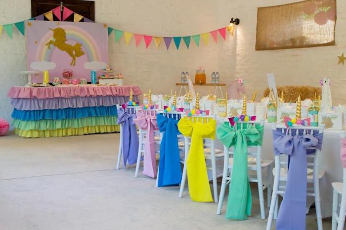 Unicorn Themed Party Tables from a Pastel Rainbow Unicorn Birthday Party on Kara's Party Ideas | KarasPartyIdeas.com (13)