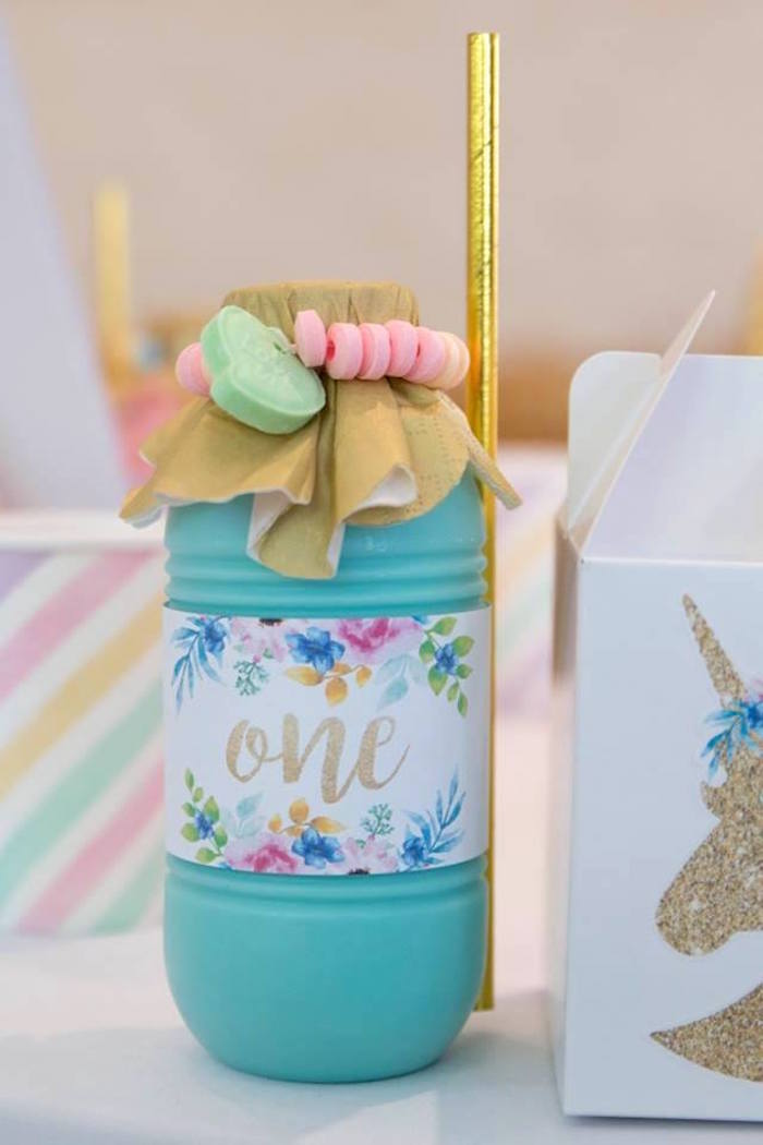 Floral Labeled Milkshake Bottle from a Pastel Rainbow Unicorn Birthday Party on Kara's Party Ideas | KarasPartyIdeas.com (11)