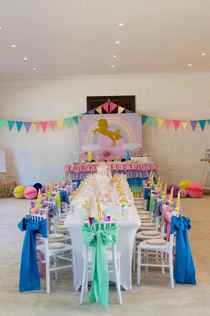 Unicorn Party Tables from a Pastel Rainbow Unicorn Birthday Party on Kara's Party Ideas | KarasPartyIdeas.com (9)