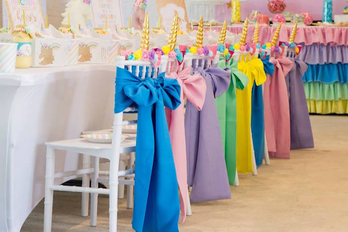 Unicorn-inspired Party Table Chairs from a Pastel Rainbow Unicorn Birthday Party on Kara's Party Ideas | KarasPartyIdeas.com (8)