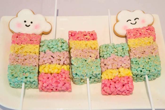 Rainbow Rice Krispie Treats from a Pastel Rainbow Unicorn Birthday Party on Kara's Party Ideas | KarasPartyIdeas.com (7)