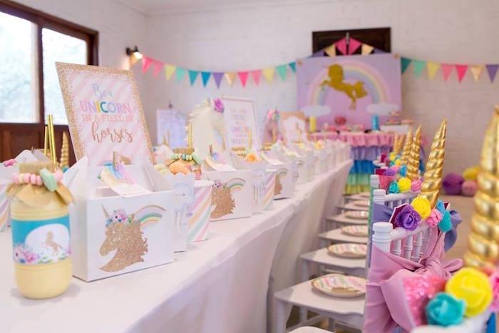 Unicorn Party Tablescape from a Pastel Rainbow Unicorn Birthday Party on Kara's Party Ideas | KarasPartyIdeas.com (34)