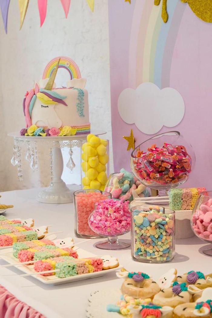 Candy Buffet from a Pastel Rainbow Unicorn Birthday Party on Kara's Party Ideas | KarasPartyIdeas.com (6)