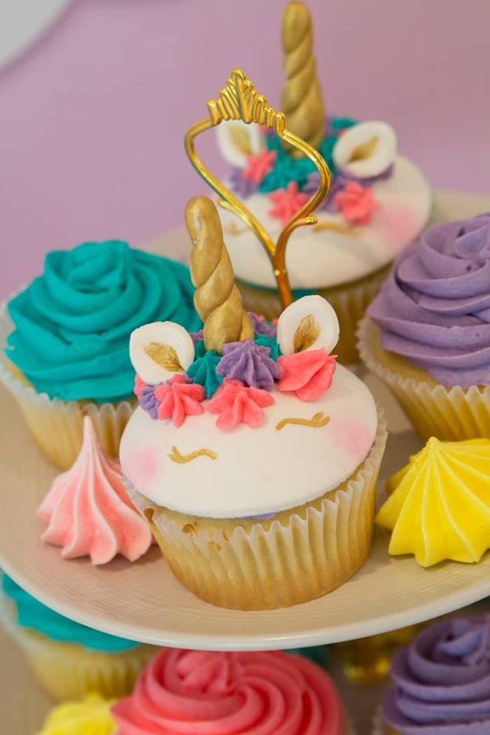 Unicorn Cupcakes from a Pastel Rainbow Unicorn Birthday Party on Kara's Party Ideas | KarasPartyIdeas.com (4)