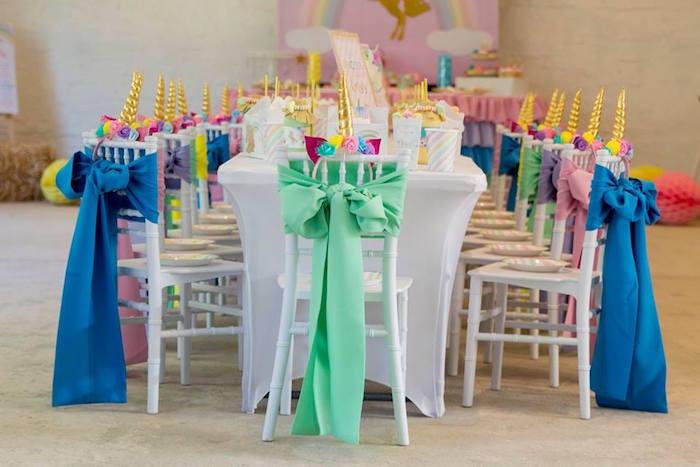 Unicorn Party + Guest Table from a Pastel Rainbow Unicorn Birthday Party on Kara's Party Ideas | KarasPartyIdeas.com (31)