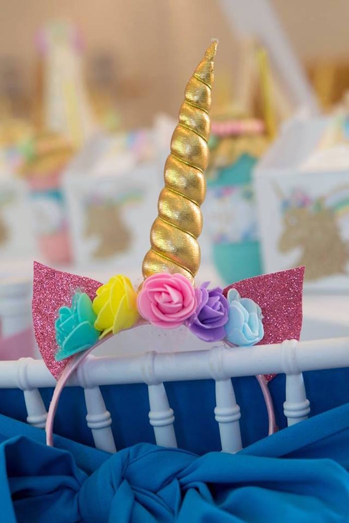 Unicorn Headband from a Pastel Rainbow Unicorn Birthday Party on Kara's Party Ideas | KarasPartyIdeas.com (30)