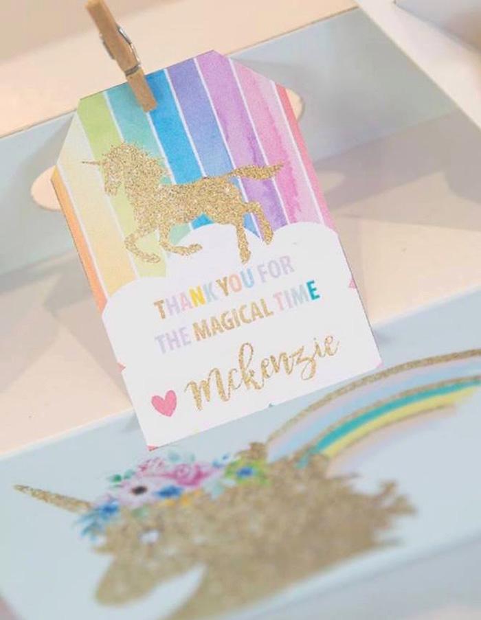 Unicorn Favor Tag from a Pastel Rainbow Unicorn Birthday Party on Kara's Party Ideas | KarasPartyIdeas.com (29)