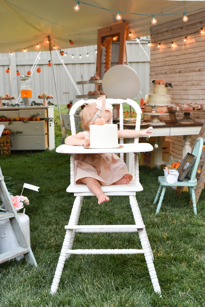 Kara S Party Ideas Peaches And Cream 1st Birthday Party
