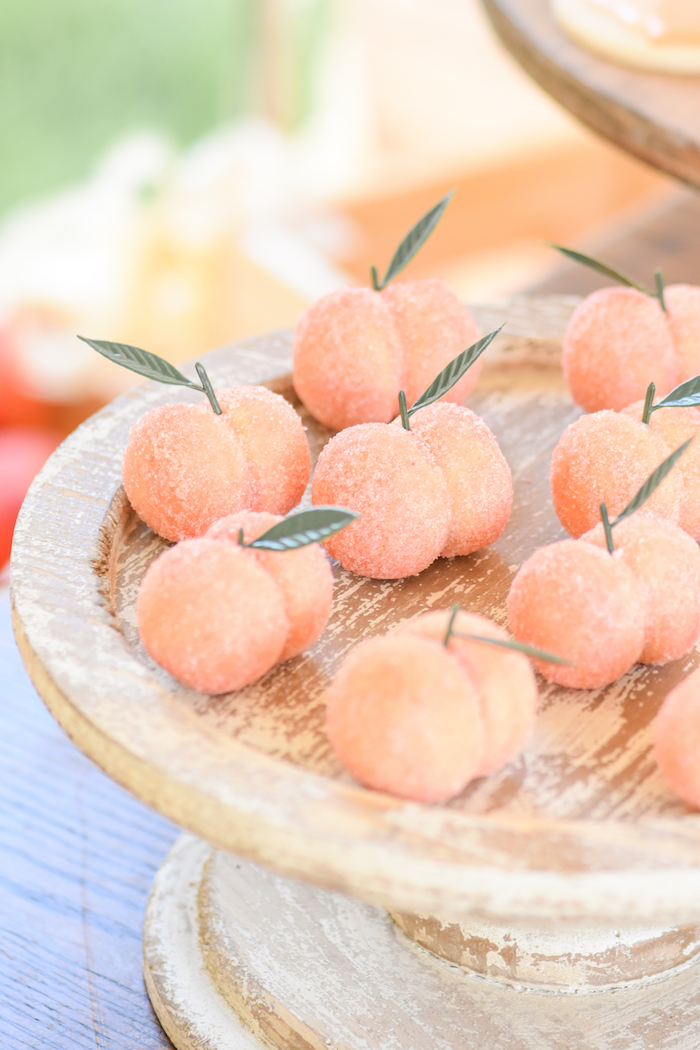 Peach cookies at a Sweet as a Peach Peaches and Cream 1st Birthday Party by Kara's Party Ideas