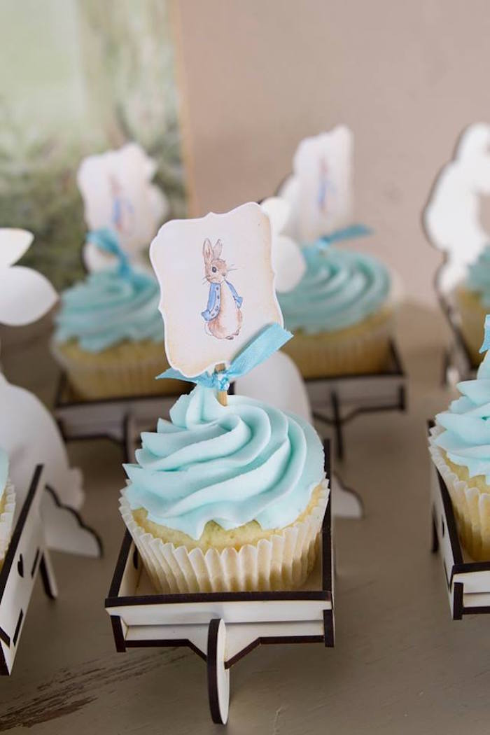 Peter Rabbit Cupcakes from a Peter Rabbit Birthday Party on Kara's Party Ideas | KarasPartyIdeas.com (20)