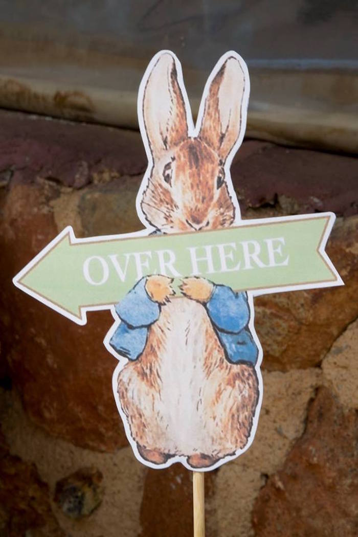 Peter Rabbit Directional Sign from a Peter Rabbit Birthday Party on Kara's Party Ideas | KarasPartyIdeas.com (18)