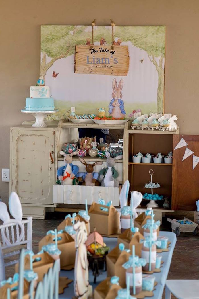 Peter Rabbit Party Table from a Peter Rabbit Birthday Party on Kara's Party Ideas | KarasPartyIdeas.com (17)