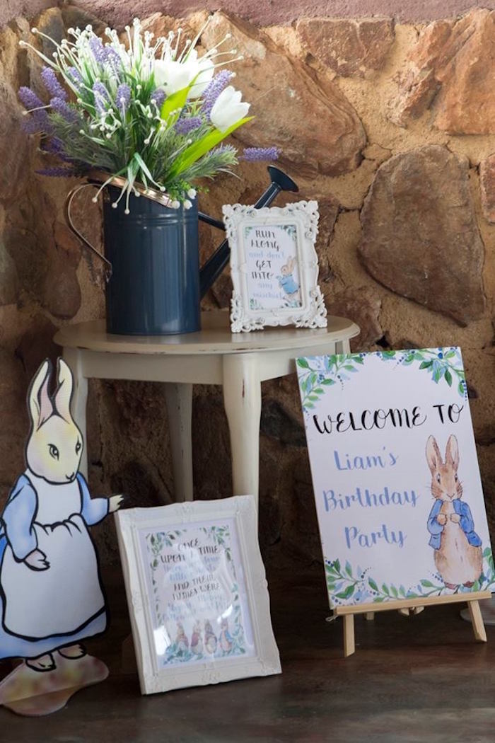 Peter Rabbit Welcome Signage + Decor from a Peter Rabbit Birthday Party on Kara's Party Ideas | KarasPartyIdeas.com (15)