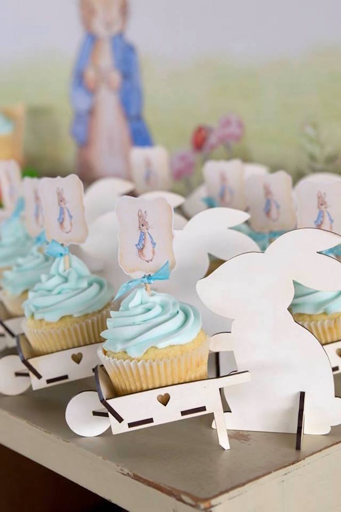 Peter Rabbit Cupcakes in Wheel Barrel Cups from a Peter Rabbit Birthday Party on Kara's Party Ideas | KarasPartyIdeas.com (12)