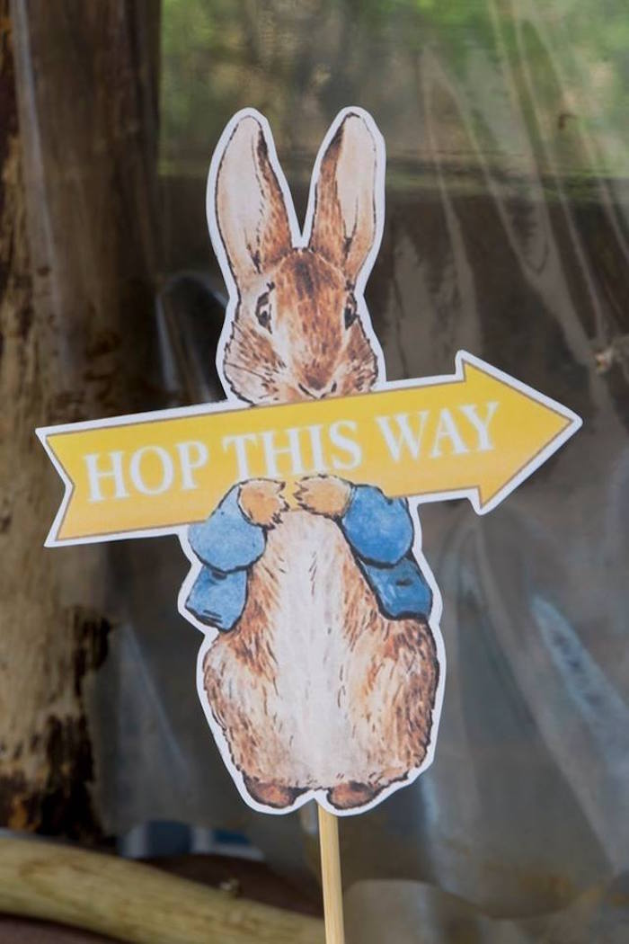 Peter Rabbit Directional Sign from a Peter Rabbit Birthday Party on Kara's Party Ideas | KarasPartyIdeas.com (10)