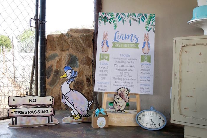 Peter Rabbit Signage + Character Props from a Peter Rabbit Birthday Party on Kara's Party Ideas | KarasPartyIdeas.com (9)