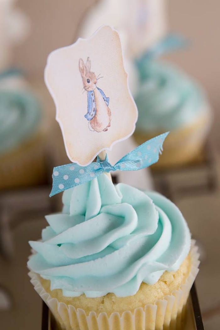 Peter Rabbit Cupcake from a Peter Rabbit Birthday Party on Kara's Party Ideas | KarasPartyIdeas.com (7)