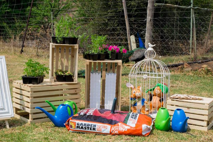 Planting Station from a Peter Rabbit Birthday Party on Kara's Party Ideas | KarasPartyIdeas.com (28)