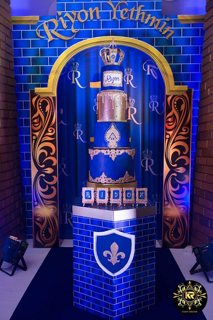 Royal Cake Table from a Royal Prince Birthday Party on Kara's Party Ideas | KarasPartyIdeas.com (31)
