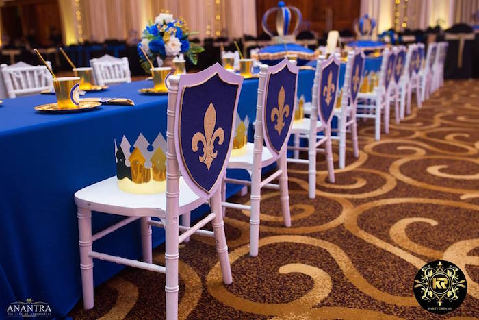 Royal Crest Party Chairs + Guest Table from a Royal Prince Birthday Party on Kara's Party Ideas | KarasPartyIdeas.com (12)