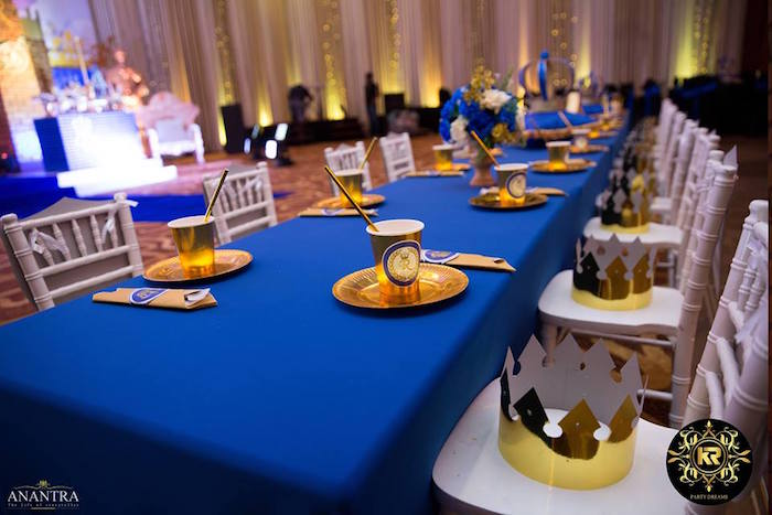 Royal Themed Guest Table from a Royal Prince Birthday Party on Kara's Party Ideas | KarasPartyIdeas.com (10)