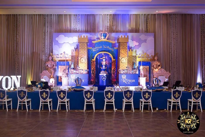 Royal Prince Party Tables from a Royal Prince Birthday Party on Kara's Party Ideas | KarasPartyIdeas.com (9)