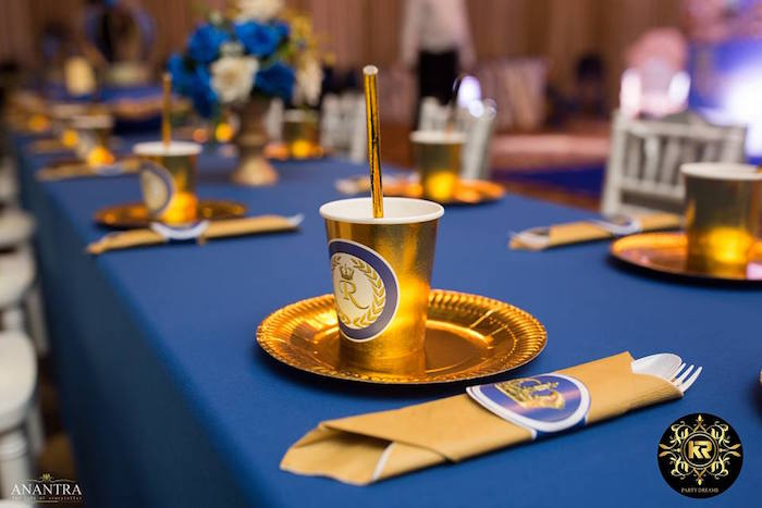 Gold Table Setting from a Royal Prince Birthday Party on Kara's Party Ideas | KarasPartyIdeas.com (6)