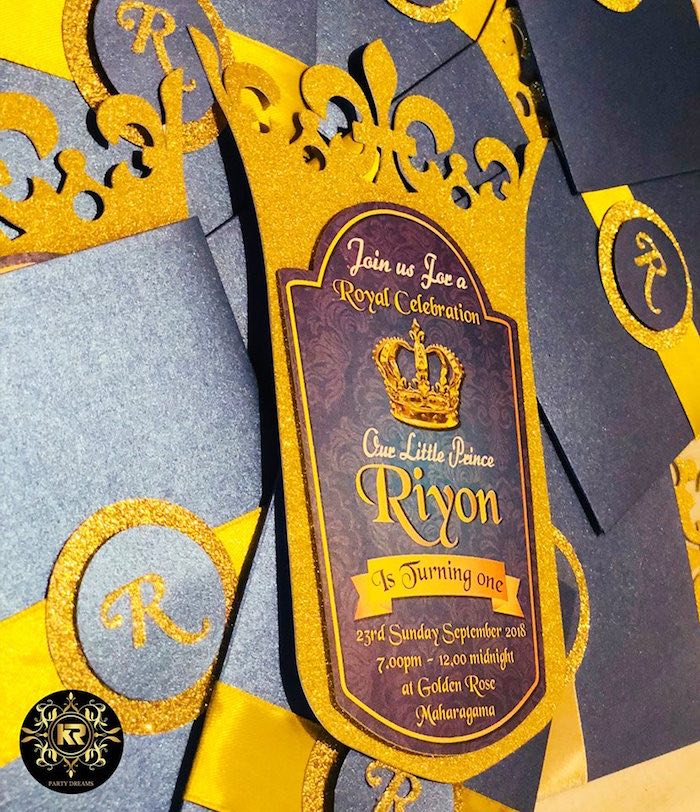 Prince Party Invite from a Royal Prince Birthday Party on Kara's Party Ideas | KarasPartyIdeas.com (5)
