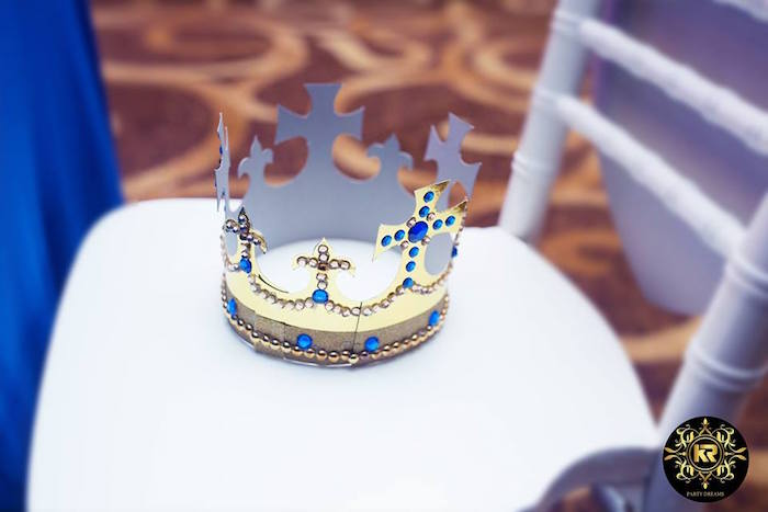 Party Chair adorned with a Crown from a Royal Prince Birthday Party on Kara's Party Ideas | KarasPartyIdeas.com (3)