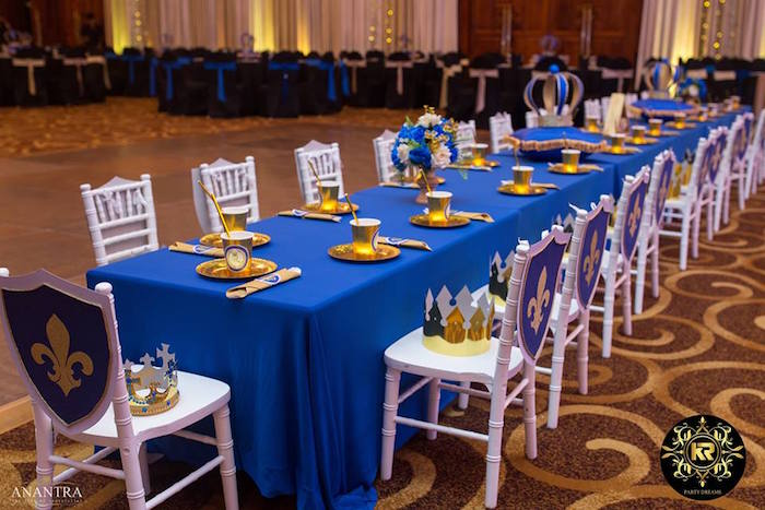 Royal Guest Table from a Royal Prince Birthday Party on Kara's Party Ideas | KarasPartyIdeas.com (29)