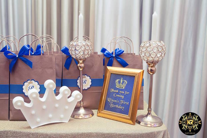 Royal Favor Table + Gift Bags from a Royal Prince Birthday Party on Kara's Party Ideas | KarasPartyIdeas.com (25)
