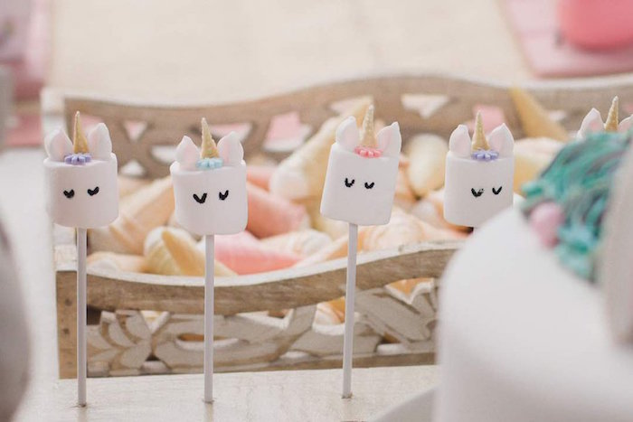 Unicorn Marshmallow Pops from a Rustic Unicorn Birthday Party on Kara's Party Ideas | KarasPartyIdeas.com (6)