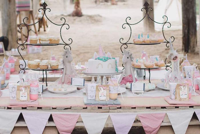 Unicorn Themed Dessert Table from a Rustic Unicorn Birthday Party on Kara's Party Ideas | KarasPartyIdeas.com (5)