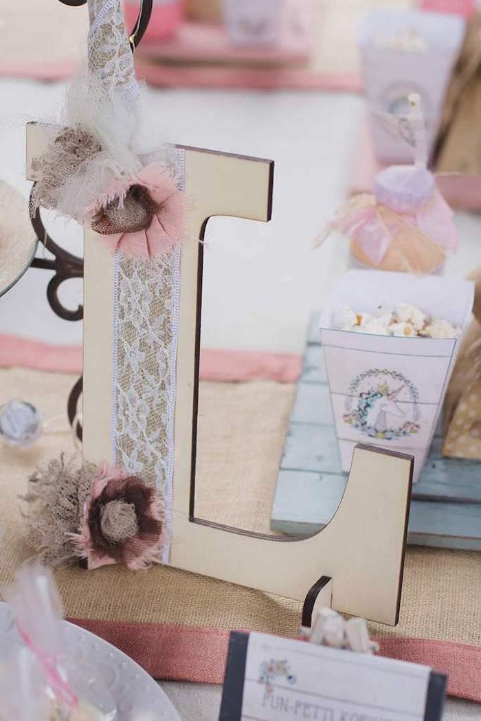 Wood Lace Letter from a Rustic Unicorn Birthday Party on Kara's Party Ideas | KarasPartyIdeas.com (14)