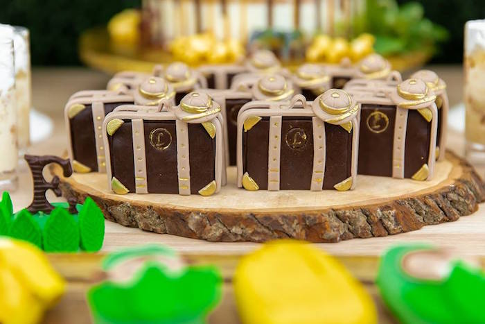 Vintage Safari Suitcase Mini Cakes from a Safari Wild ONE Birthday Party on Kara's Party Ideas | KarasPartyIdeas.com (34)