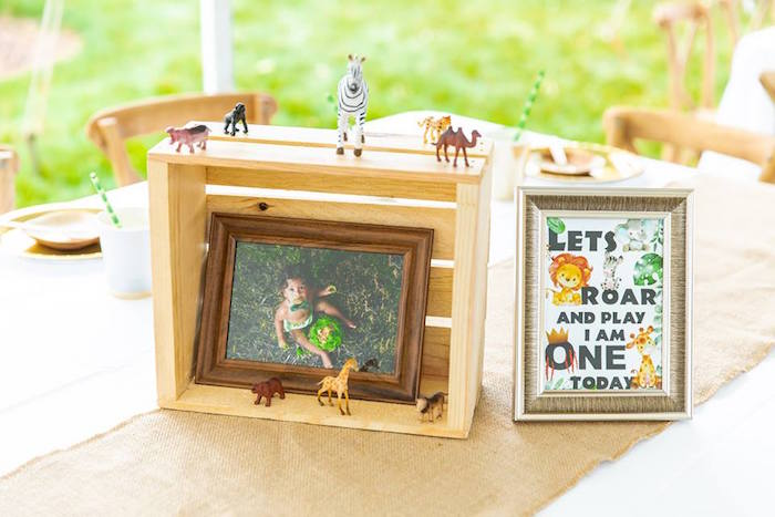 Wood Crate + Safari Animal Table Centerpiece from a Safari Wild ONE Birthday Party on Kara's Party Ideas | KarasPartyIdeas.com (32)