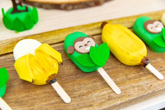 Banana + Monkey Cake Popsicles from a Safari Wild ONE Birthday Party on Kara's Party Ideas | KarasPartyIdeas.com (31)