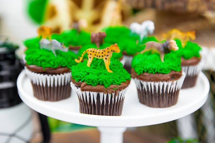 Safari Animal Cupcakes from a Safari Wild ONE Birthday Party on Kara's Party Ideas | KarasPartyIdeas.com (30)