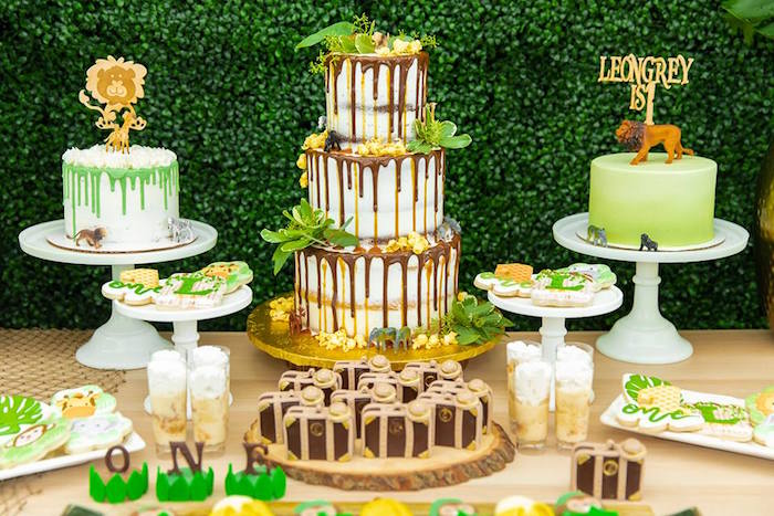 Cake Table from a Safari Wild ONE Birthday Party on Kara's Party Ideas | KarasPartyIdeas.com (29)