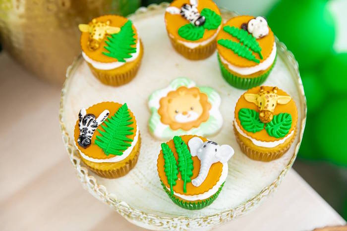 Safari Themed Cupcakes from a Safari Wild ONE Birthday Party on Kara's Party Ideas | KarasPartyIdeas.com (28)