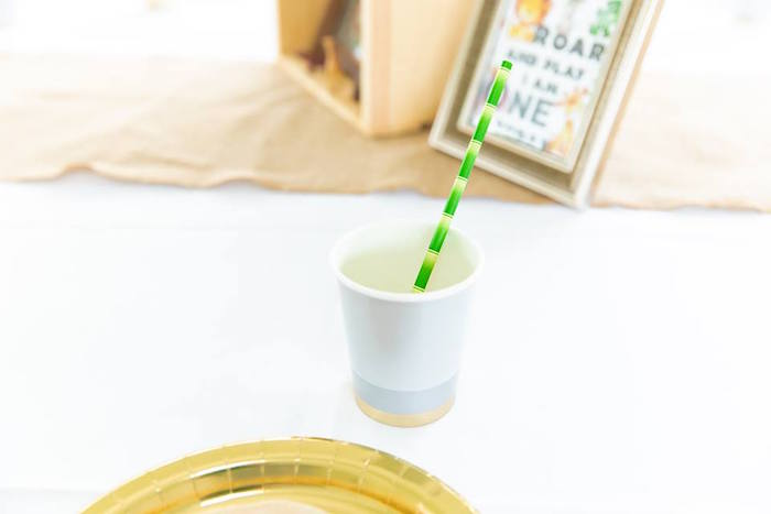 Bamboo Straw + Table Setting from a Safari Wild ONE Birthday Party on Kara's Party Ideas | KarasPartyIdeas.com (27)