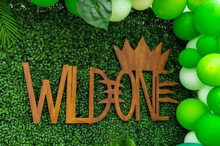 Wooden Wild One Sign from a Safari Wild ONE Birthday Party on Kara's Party Ideas | KarasPartyIdeas.com (25)